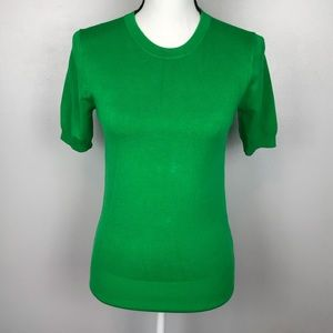 NWT Zara Knit Green Crewneck Sweater Short Sleeve